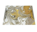Acrylic Challah Board Gold Agate Marble