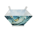 Acrylic Salad Bowl with Servers Blue Agate Marble