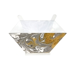 Acrylic Salad Bowl with Servers Gold Agate Marble