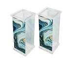Acrylic Salt & Pepper Set Blue Agate Marble