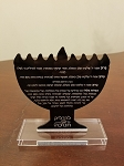Chanukah Blessings Plaque Dual Sided  Menorah Design Design Black Silver
