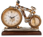 Vintage Style Antiqued Finished Bicycle Shape Decorative Clock with Thermometer