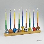 Sports Menorah, Hand Painted