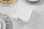 Lucite Flat Napkin Holder  Design  White/Clear Base